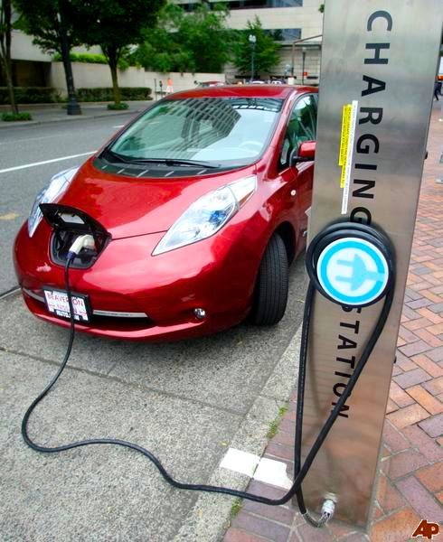 Charging a Nissan Leaf.